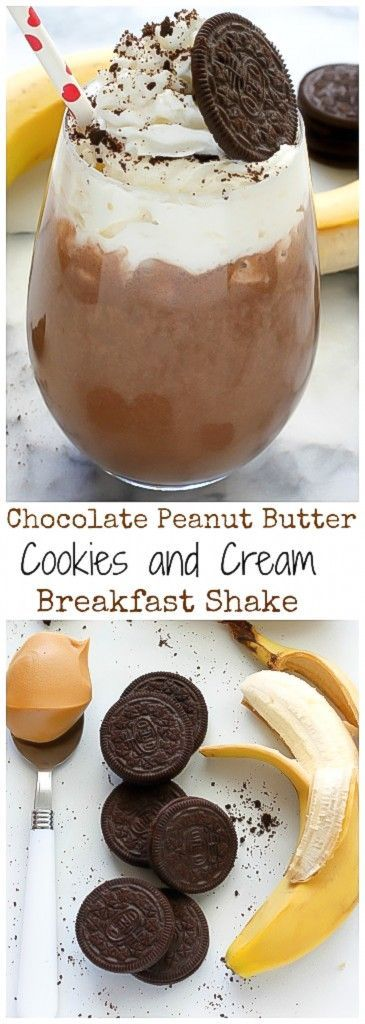 Chocolate Peanut Butter Cookies and Cream Breakfast Shake - Thick, Creamy, and SO delicious!  Sounds like dessert for breakfast - I'm in!
