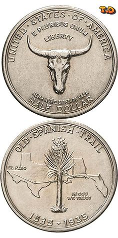 N♡T. ½ Dollar Old Spanish Trail Country United States Year 1935 Value 1/2 Dollar 0.50 USD = 0.45 EUR Metal Silver (.900) Weight 12.50 g Diameter 30.60 mm