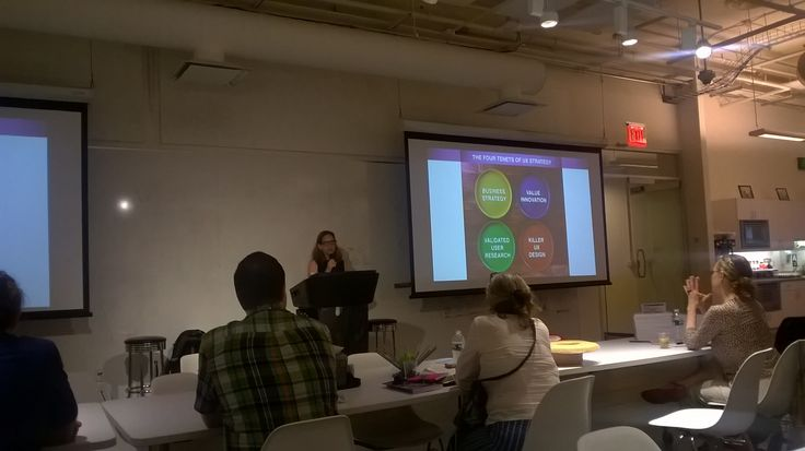 """Jaime Levy, presenting a lecture on the occasion of the launch of her new book, """"UX Strategy."""""""