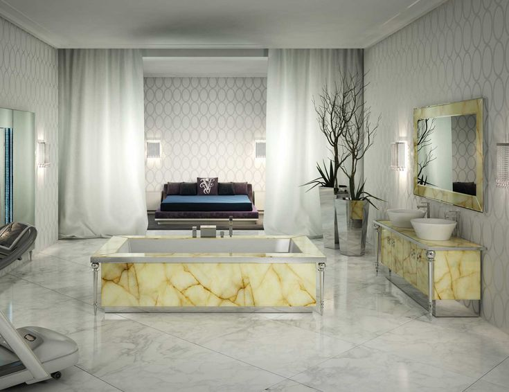 High End Italian Bathtub Structured In Marble Honey Onyx