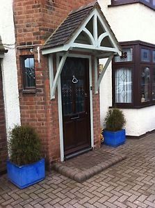 Timber Front Door Canopy Porch 1200mm Blakemere curved gallows brackets canopy | eBay