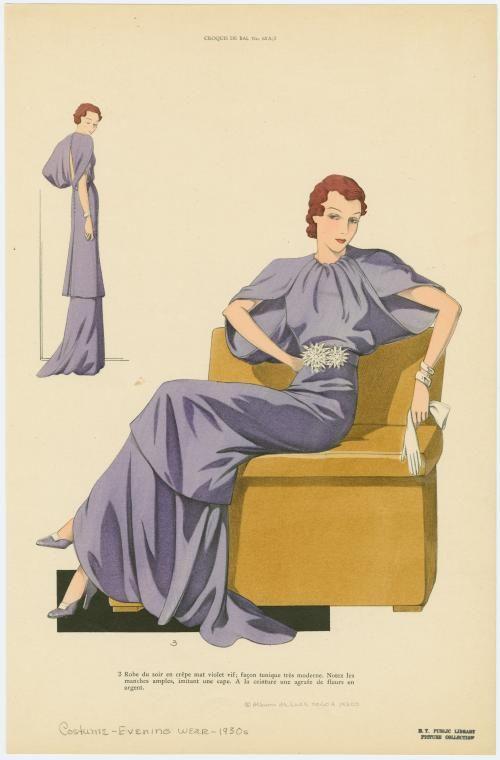 Robe du soir en crêpe mat violet vif ; façon tunique très moderne. (193-)