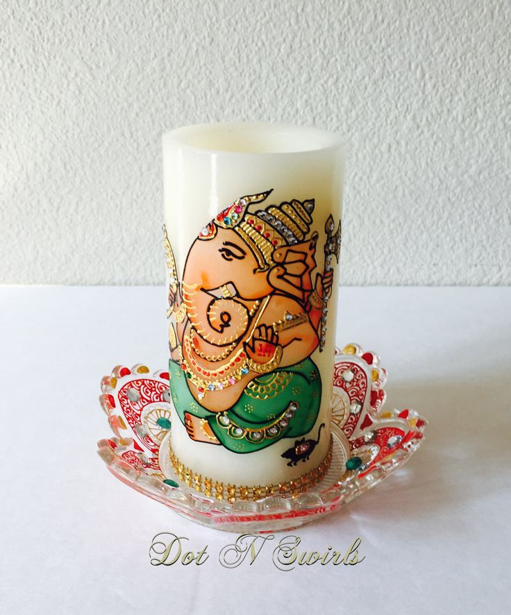 Flameless LED Lord Ganesh PillarHandmadeRemover of by dotnswirls