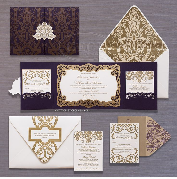 Ornate purple and gold wedding invitations by Ceci New York for Ekaterina & Liam's old-world, dreamy wedding in San Francisco.