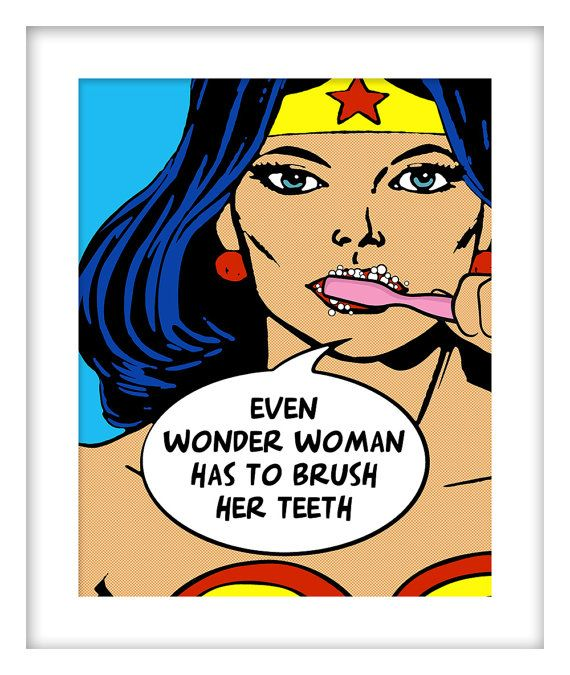 Kids Bathroom Decor Wonder Woman Superhero Brush Your by Woofworld