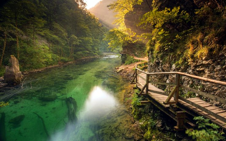 General 2500x1563 nature landscape river walkway mountains path forest shrubs sun rays Slovenia