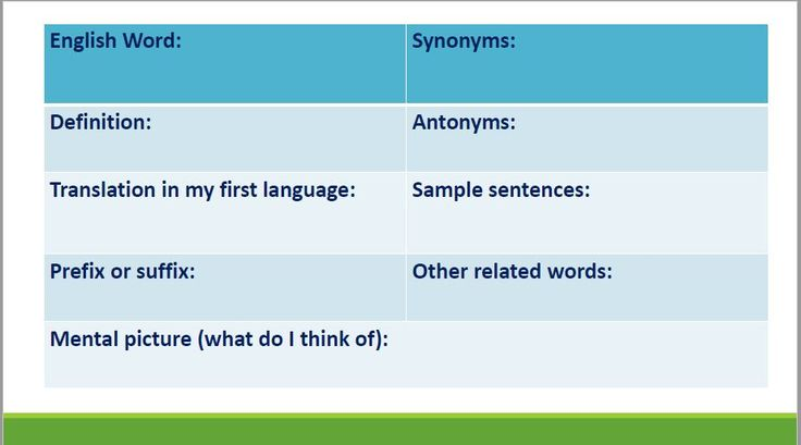 I believe this chart from, Sheila Chung, can be effectively used during a lesson that explicitly focuses on vocabulary. Moreover, this resource can be beneficial for ELLs, because students are encouraged to write a translation for the word from their primary language. Students should also write a sentence with the word to understand how to use it. This chart can be completed independently or in small groups.