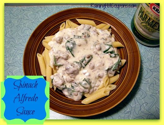Homemade Alfredo Sauce with Spinach Recipe - Going to sub out some ingredients for healthier/organic ones!!