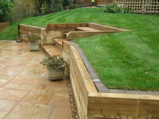 retaining wall wooden sleepers - Google Search
