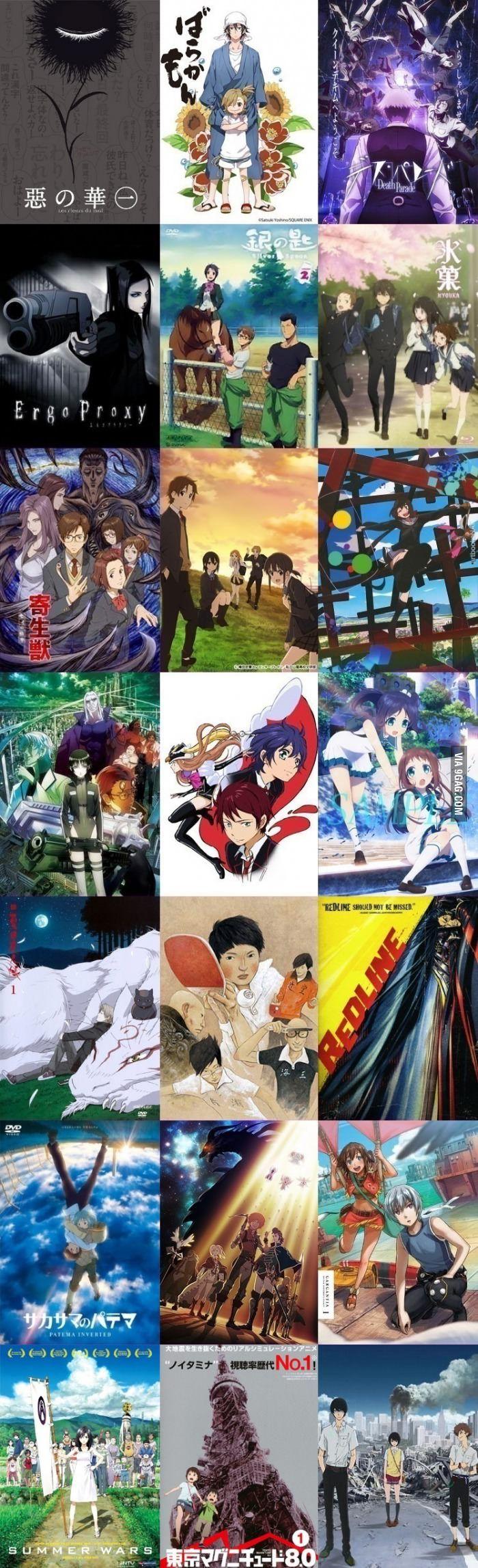 In order: Aku no Hana, Barakamon, Death Parade, Ergo Proxy, Gin no Saji, Hyouka, Kiseijuu: Sei no Kakuritsu, Kokoro Connect, Kyousou Giga (TV), Mardock Scramble, Mawaru Penguindrum, Nagi no Asakura, Natsume Yuujinchou, Ping Pong the Animation, Redline, Sakasama no Patema, Shingeki no Bahamut: Genesis, Suisei no Gargantia, Summer Wars, Tokyo Magnitud 8.0, Zankyou no Terror...