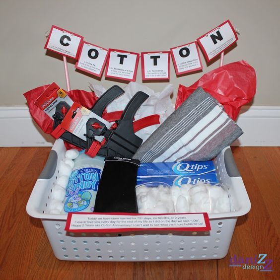 Cotton Anniversary Gift Basket for Him plus several more gift ideas for your Second Wedding Anniversary
