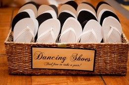 Great idea! My feet hurt so much after dancing at my aunt's wedding. The mother of the groom was smart enough to bring flip flops to dance in. xD (Check link on this pin later)