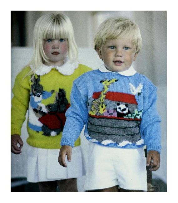 DK Beatrix Rabbit & Noahs Ark Sweaters pattern at https://www.etsy.com/listing/601195869/dk-beatrix-rabbit-noahs-ark-sweaters