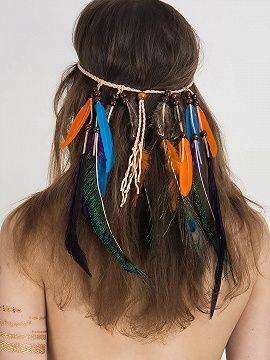Shop Multicolor Feather Drop Plaited Strap Detail Hair Band from choies.com .Free shipping Worldwide.$12.9