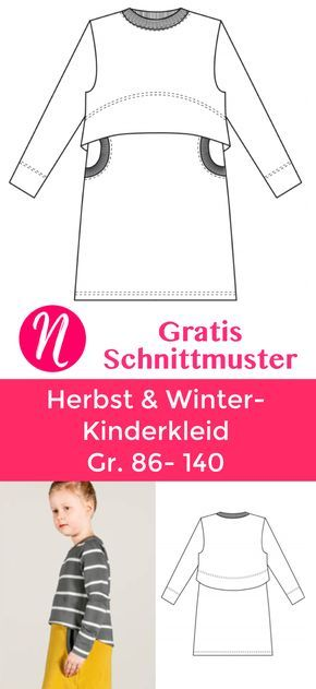 Kinderkleid aus Sweatshirtstoff – Freebook Gr. 86 – 140