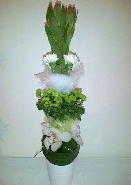 Tall centerpiece - Leucadendron, Dianthus, Santini, Cymbidium