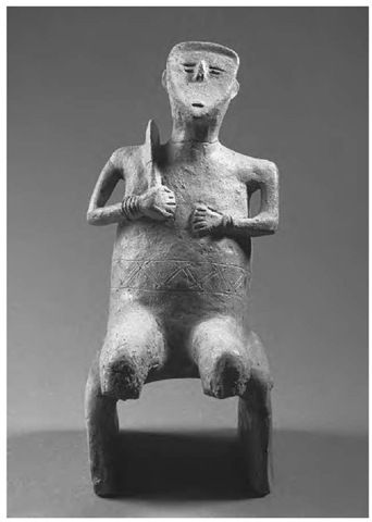 "Neolithic ""sickle god"" figurine from the Hungarian site of Szegvar-Tuzkoves, Tisza culture, c. 5000 b.c."