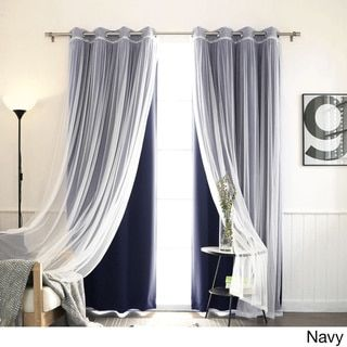 Aurora Home Mix and Match Blackout and Tulle Lace Sheer Silver Grommet 4-piece Curtain Panels - Free Shipping Today - Overstock.com - 18722874 - Mobile