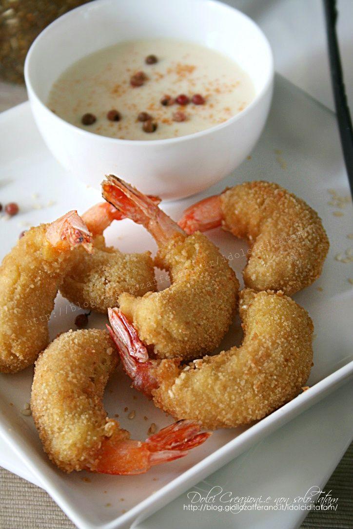 Fried prawns with sesame sauce spicy paprika