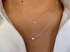 Ich gebe dir den Mond und Sternen...-Moon Halskette - Star Halskette - Sterling Silber Ketten - Necklace Layering - Multi-strängige Halskette