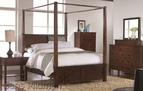 Craftsman 7 PC Bedroom Set with King Size Mission Syle Canopy Poster Bed New | eBay