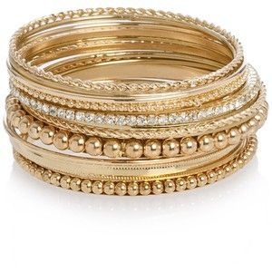 Gold stack bracelets