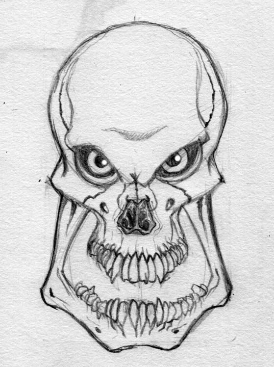Evil skull drawing | Skull & bones | Pinterest