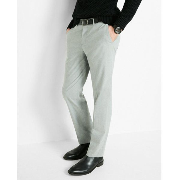 Express Modern Producer Heather Gray Dress Pant ($35) ❤ liked on Polyvore featuring men's fashion, men's clothing, men's pants, men's dress pants, grey, express mens pants, mens pants, mens dress pants, mens grey dress pants and mens suit pants