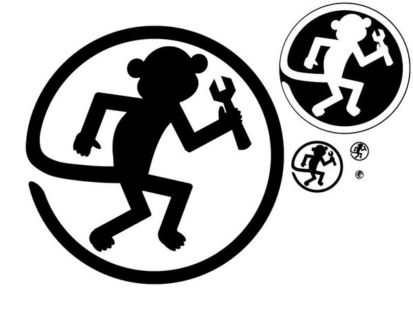 Monkey silhouette with spanner