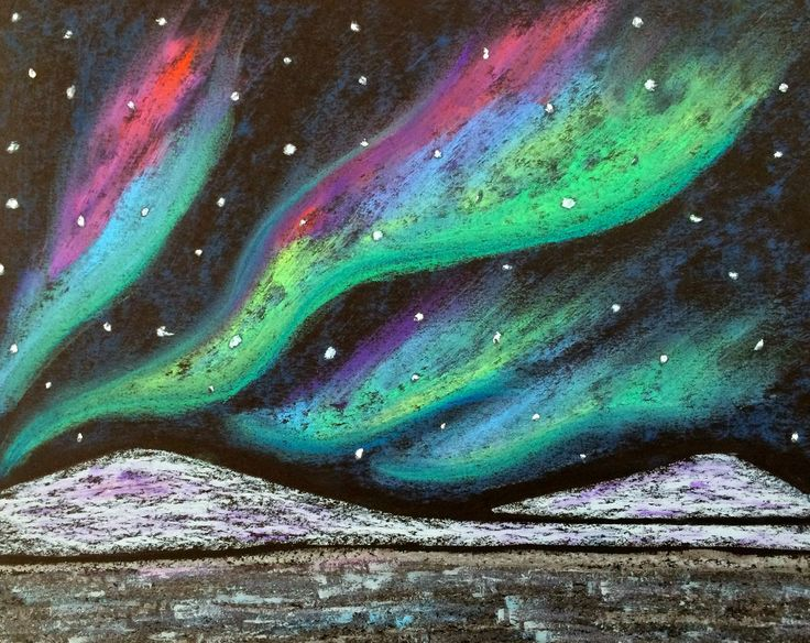Kathy's AngelNik Designs & Art Project Ideas: Northern Lights Winter Landscape Art Lesson