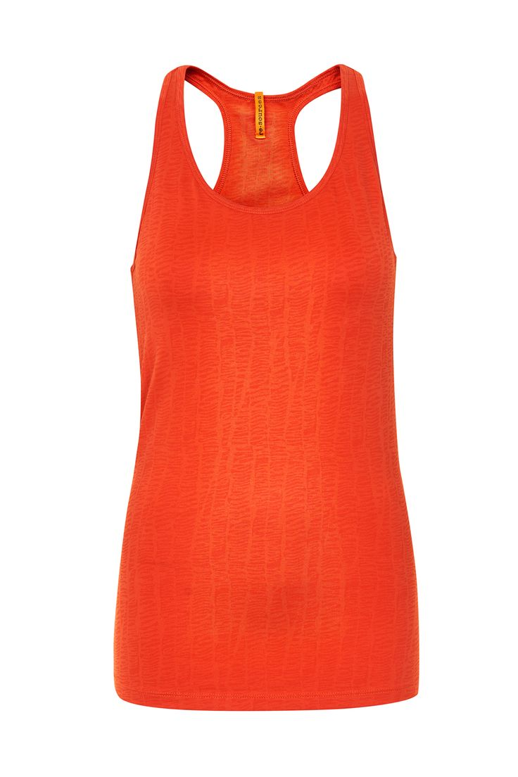 Paprika colored relief top with inner bra - a great all round top for sports. Organic cotton.