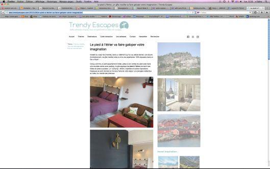 """Trendy Escapes parle de notre gite """"Le Pied à l'Etrier"""" à Chantilly, Oise"""