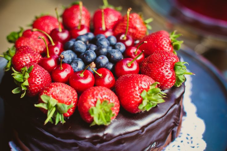 Delicious, fruity chocolate cake for Summer