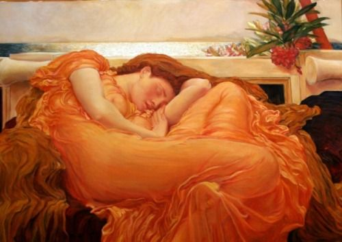 "thru Sept 6: ""Leighton's Flaming June"" Frederic Leighton The Frick Collection, 1 East 70th St., NYC This nineteenth-century masterpiece embodies the modern philosophy of ""art for art's sake,"" the belief that the value of art lies in its aesthetic..."