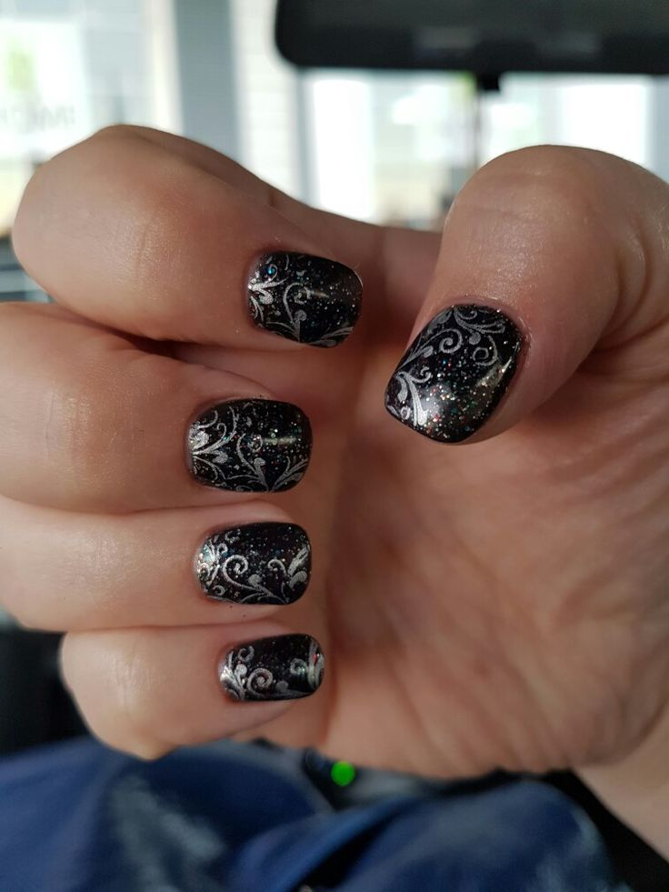 pretty black and silver stamp gel nails ♡