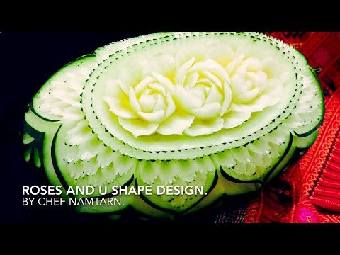 Little Roses and easy leaves in Watermelon | By Chef NAMTARN. - YouTube