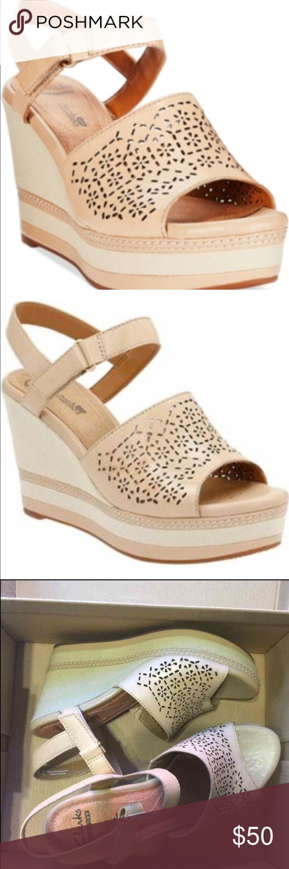 Clark shoes. 8 Zia grace nude leather wedges. New with box. Retail $95 Clarks Shoes Wedges