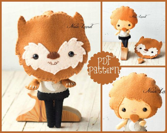 PDF. Wolf man. Halloween pattern. Plush Doll Pattern, Softie Pattern, Soft felt Toy Pattern.