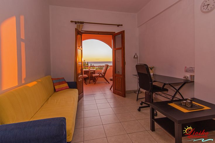 Living room, office and balcony with sea view!! Holidays and business... Our apartments can combine anything!  Make now your reservation for accommodation in spring and autumn and win 5% extra discount on the offers which there are already on our web site!  #Liviko_apartments #Spring_offer #Autumn_offer #Frangokastello #Sfakia #Chania #Crete #Greece www.livikoapartments.gr
