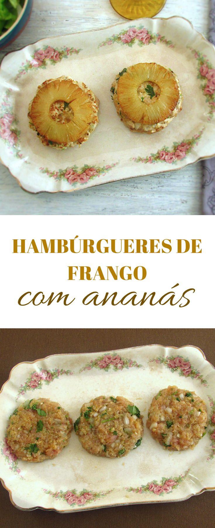 Hambúrgueres de frango com ananás | Food From Portugal. Esta receita de hambúrgueres de frango é bastante saudável, fácil de preparar e é o almoço ideal para dar aos seus filhos. Atreva-se! #receita #hambúrgueres #frango #ananás