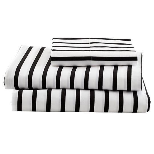 Black and White Stripe Sheets | The Land of Nod