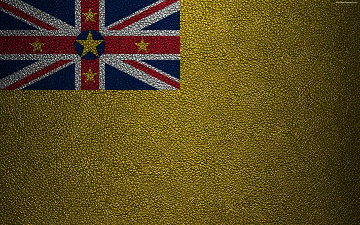 Download wallpapers Flag of Niue, 4K, leather texture, Oceania, Niue, world flags