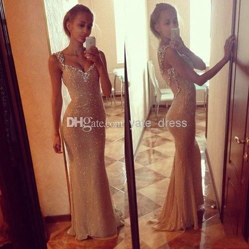 Wholesale - On Sale Luxury Hot Selling Sexy Sweetheart Long Crystal Beaded Sequin Corset Mermaid Sheer Tulle Champagne Party/Evening Dresses
