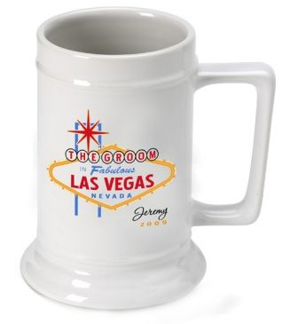 Celebrate your trip with our personalized beer stein emblazoned with a traditional-style Las Vegas logo and featuring the name of the recipient. Great groomsmen or bridesmaid gifts, these generously-sized beverage holders make great keepsakes long after the party has ended. Each personalized white ceramic mug holds 16 ounces of their favorite beverage. Choose from Best Man, Bride, Bridesmaid, Groom, Groomsman, Maid of Honor and Usher. #beer #stein #mug #groomsmen #heartdeeds #LasVegas