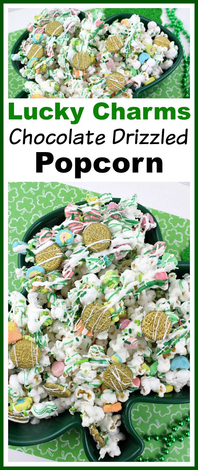 Lucky Charms Chocolate Drizzled Popcorn- This Lucky Charms chocolate drizzled popcorn is an easy, no-bake St. Patrick's Day dessert! The sweet marshmallows and smooth chocolate pair perfectly with the crunchy popcorn! | recipe, Saint Patrick's Day, St. Patty's Day, green, gold, homemade snack, homemade popcorn, dessert ideas