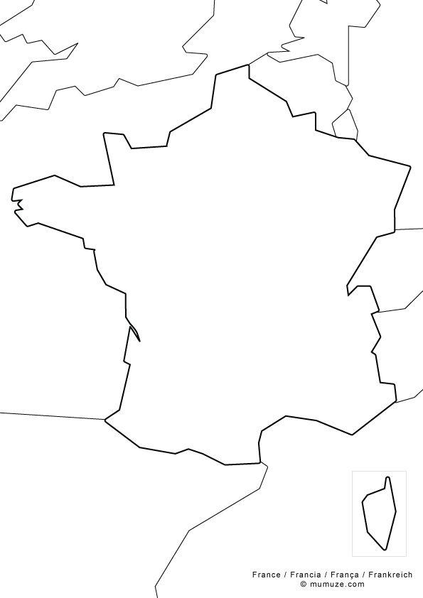 Carte De France Vierge Fleuve Montagne Et Grandes Villes