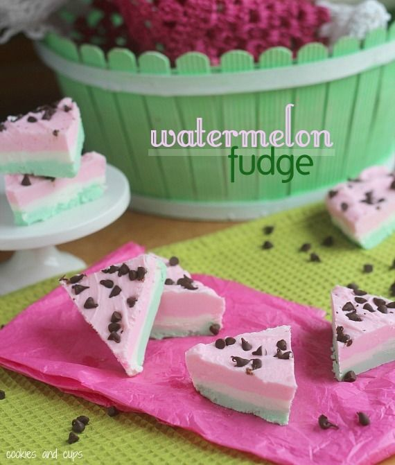 """Watermelon fudge from Cookies & Cups. Love the mini chocolate chip """"seeds""""!"""