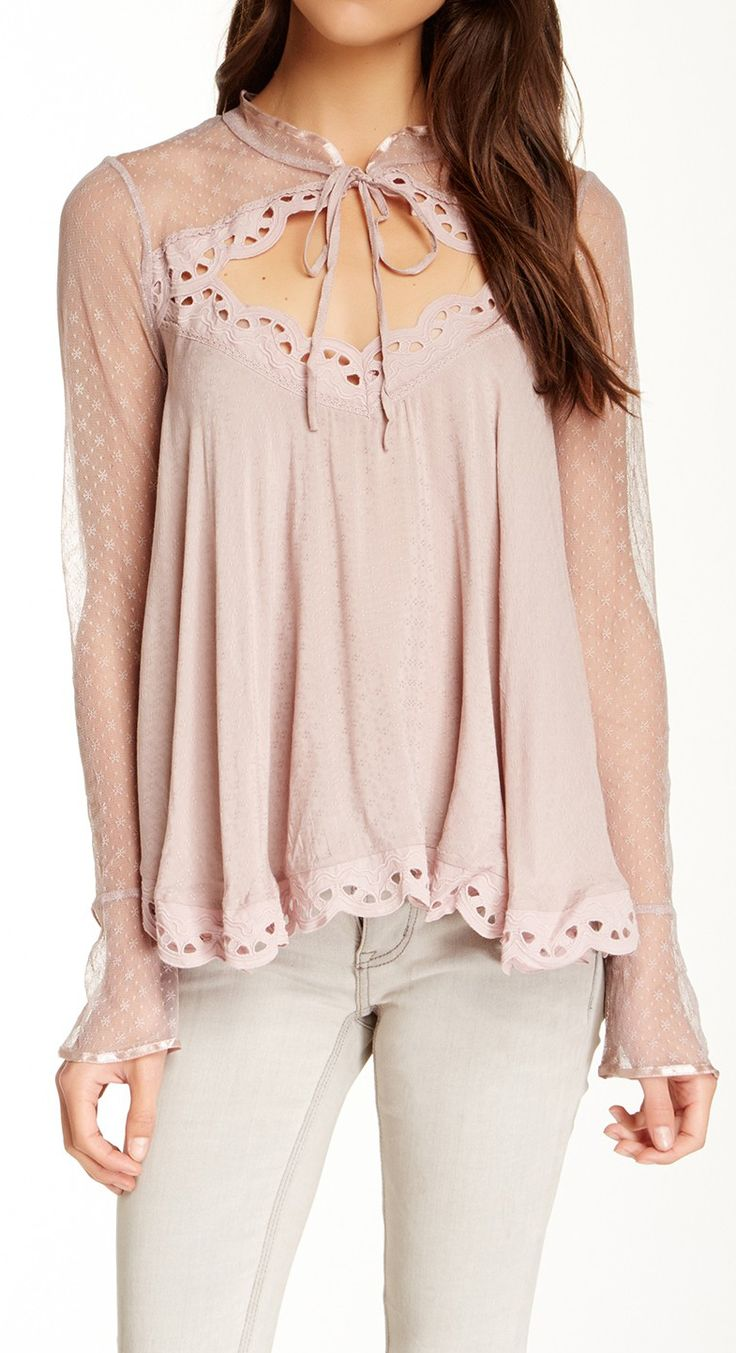 Scalloped blush blouse