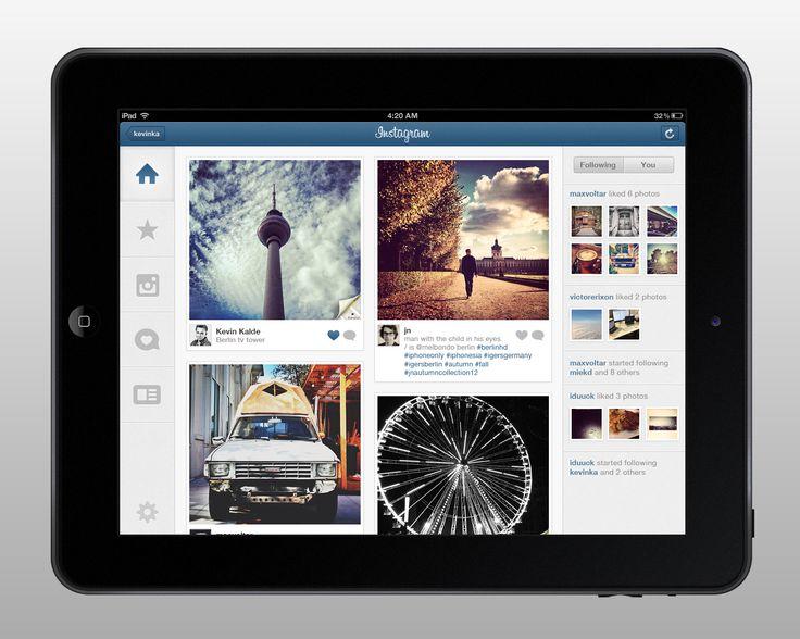 Proposed Instagram iPad app | Kevin Kalde via Dribbble