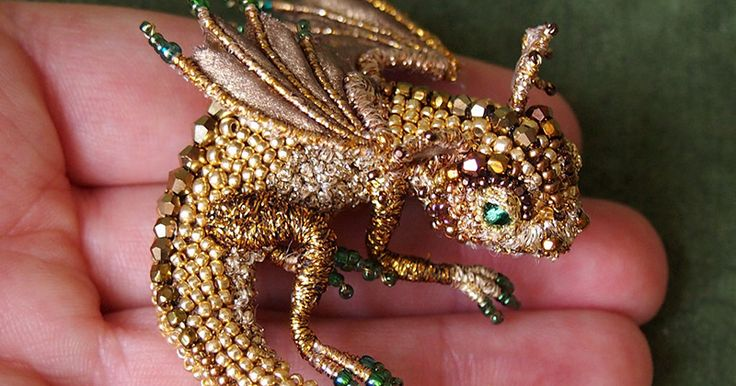 """Buy Brooch dragon """"Goldie"""". Embroidered dragon. Golden dragonet - teeny dragon, tiny dragon"""